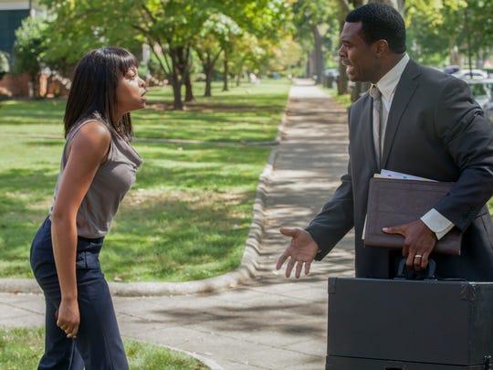 "Melinda (Taraji P. Henson) lets her duplicitious husband Robert (Lyriq Bent) have it in ""Tyler Perry's Acrimony."""