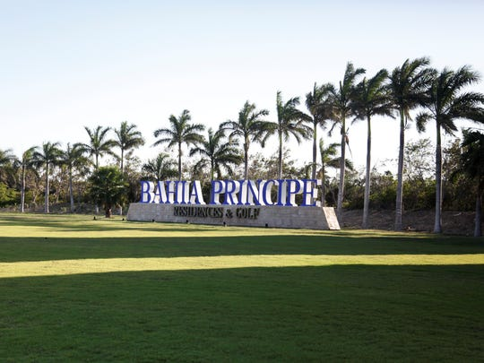 The entrance to the sweeping Bahia Principe hotel and
