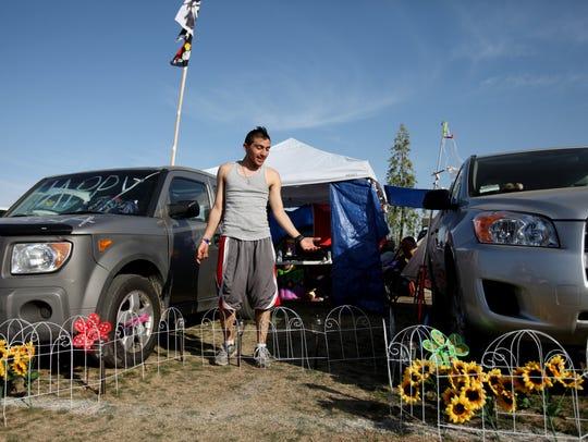 Camper Alex Amaya, 21, of Los Angeles talks about camping