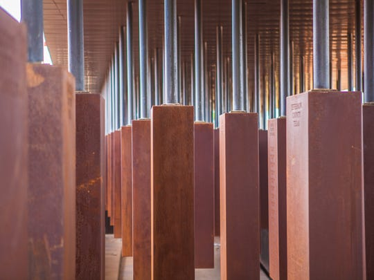 The National Memorial for Peace and Justice, which opens April 26 in Montgomery, includes steel monoliths for each county where racial terror lynchings occurred and names each victim in the counties.