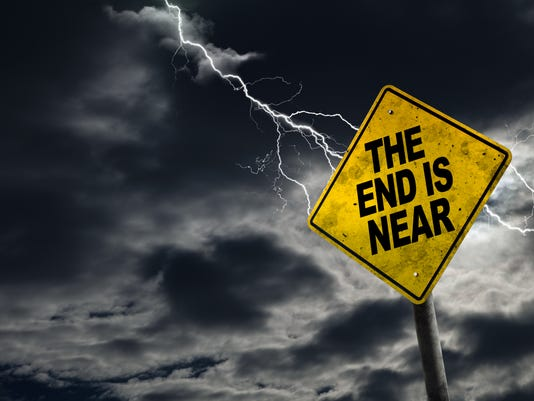 End is Near Sign With Stormy Background