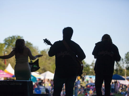 Musicians perform for a festival crowd at Appel Farm Arts & Music Center in Elmer.