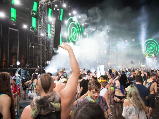 Electronic music fans gather at the Las Vegas Motor