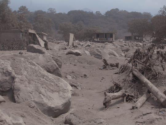 The village of San Miguel Los Lotes lies destroyed