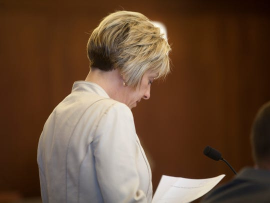 Deputy County Attorney Angela Adams during the preliminary