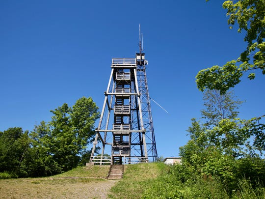 An observation tower and old fire tower stand at the top of Timm's Hill, Wisconsin's highest natural point at 1,951.5 feet.