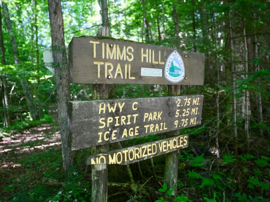 The 10-mile Timm's Hill Trail runs from Timm's Hill south to connect with the Ice Age Trail.