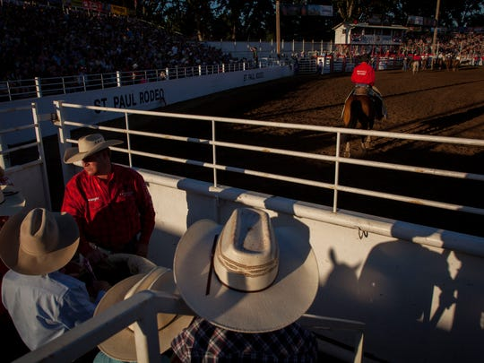 Crowds build near the start of the annual St. Paul Rodeo, Tuesday July 3, 2018. The rodeo also serves as the annual fundraiser for many civic and community groups in St. Paul, Oregon.