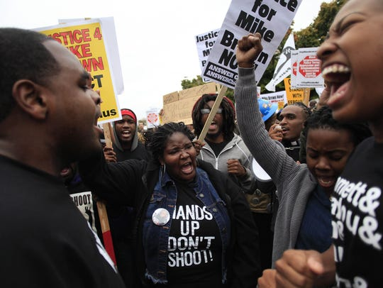 Demonstrators protest on October in St. Louis, Mo.