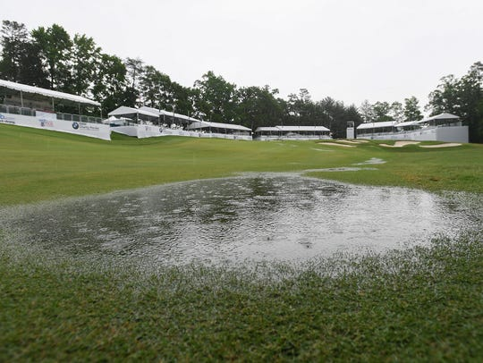 Rain pools in the fairway near the 18th green at Thornblade