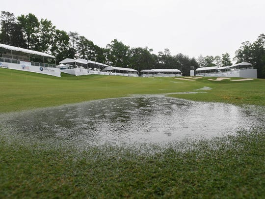 Rain pools in the fairway near the 18th green at Thornblade Club during the final day of play in the BMW Charity Pro-Am on Sunday, May 21, 2017. Play was canceled due to the rain.