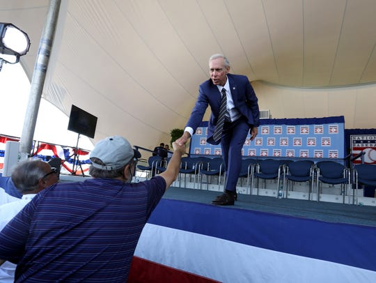 Alan Trammell was the last to leave the stage in Cooperstown, N.Y. He stuck around to shake the hands of Tigers fans who made it to the front, including Clayton Bolgos, 65 of Ann Arbor.