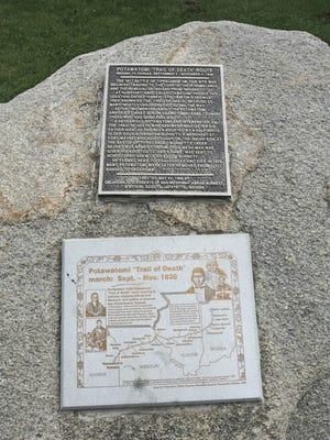 A marker for the Potawatomi 'Trail of Death' that passed through Tippecanoe county at the Tippecanoe Battlefield Park in Battle Ground.