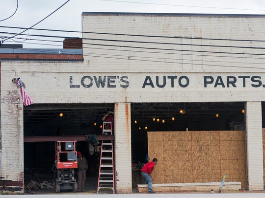 Renovation at the old Lowe's Auto Parts building in downtown Montgomery, Ala., on Friday May 5, 2017.