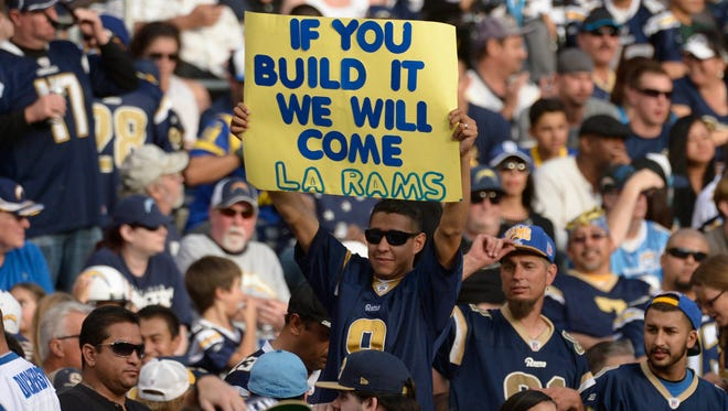 A hopeful Rams fan pleads for a stadium in Los Angeles during the Rams' game against the San Diego Chargers at Qualcomm Stadium.