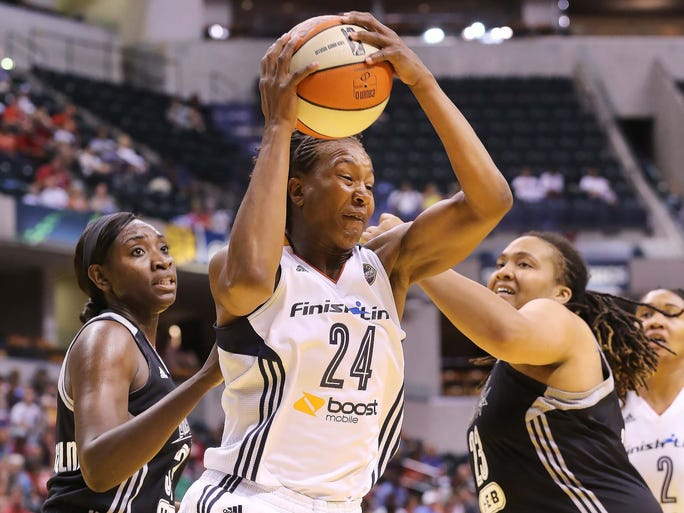 Tamika Catchings made her first appearance of the season in the game against the Stars. The Indiana Fever lost to the San Antonio Stars 71-70 in WNBA action Saturday July 5, 2014 at Bankers Life Fieldhouse.