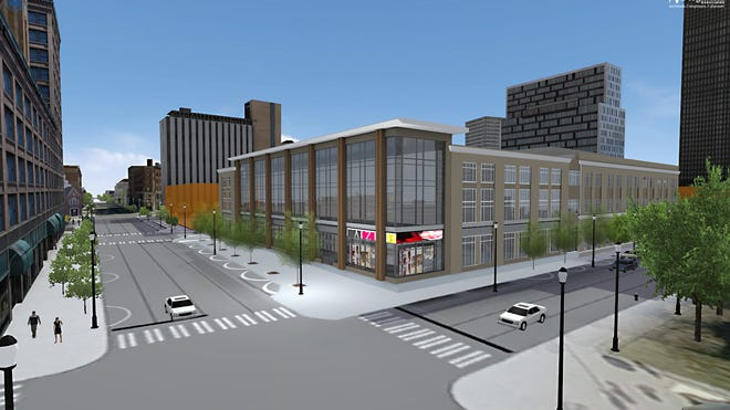 An artist's rendering of the Democrat and Chronicle Media Group building at East Main Street and South Clinton Avenue.