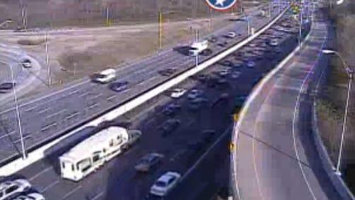 Traffic cameras show heavy traffic on Interstate 65 northbound near Interstate 440 due to a nearby crash.