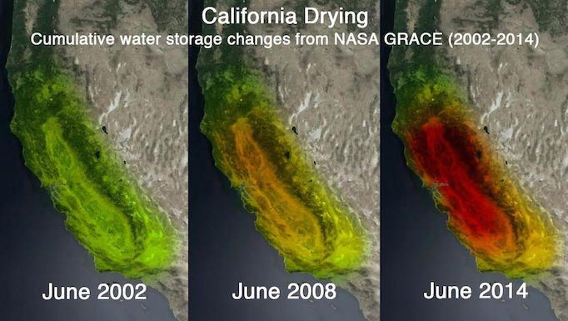 NASA images show California's drought deepening
