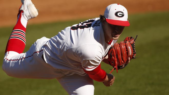 Georgia's Cole Wilcox throws a pitch during a game against Massachusetts in Athens on March 7. Georgia won 16-2.