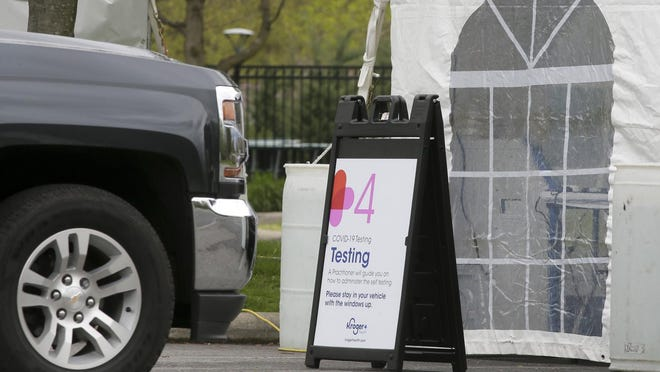 This file photo shows Kroger's first drive-through COVID-19 testing site at the Franklin Park Conservatory in Columbus on Thursday, April 30, 2020.