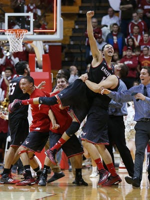 Eastern Washington Eagles guard Tyler Harvey gets a lift in the air by teammates after his Eagles upset the Hoosiers 88-86. Indiana hosted Eastern Washington at Assembly Hall on Monday, November 24, 2014.
