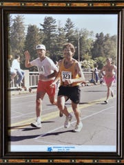 Dick, left, and Jim Glatzmaier run together in the 1991 Grandma's Marathon in Duluth.