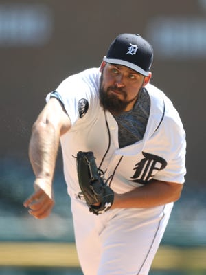 Tigers' Michael Fulmer pitches against the Twins during the first inning Wednesday, April 12, 2017 at Comerica Park.