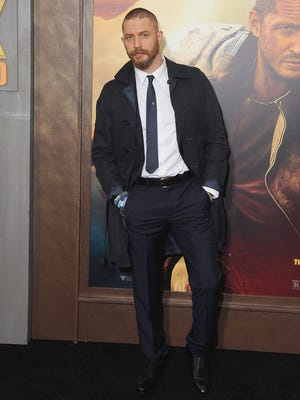 Tom Hardy debuted his 'Mad Max: Fury Road' at the Los Angeles premiere on May 7.