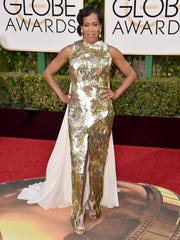 Regina King in a loose caped sparkler by Dolce & Gabbana.