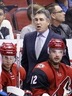 Arizona Coyotes head coach Dave Tippett against  the Edmonton Oilers in their NHL game Tuesday, Jan. 12, 2016 in Glendale, AZ.