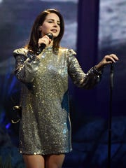 Lana Del Rey performs during a stop of her 'LA to the Moon Tour' in support of the album 'Lust for Life' at the Mandalay Bay Events Center on Feb. 16, 2018 in Las Vegas.