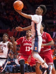 Jan 24, 2018; Champaign, IL, USA; Illinois Fighting Illini guard Trent Frazier (1) shoots during the first half against the Indiana Hoosiers at State Farm Center.