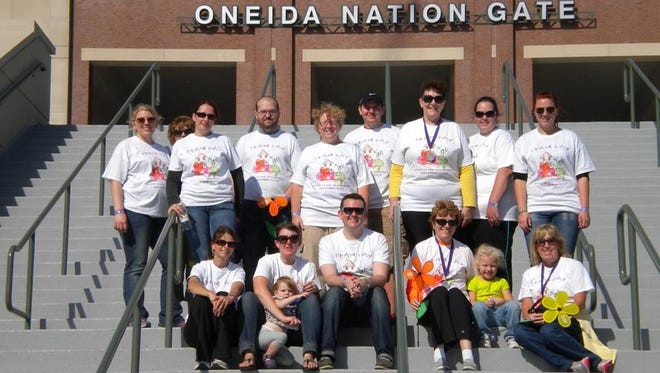 Team Fay (now called Grandma Fay's Alzheimer's Fighters) after the 2013 Alzheimer's Association's Walk to End Alzheimer's at Lambeau Field in Green Bay.