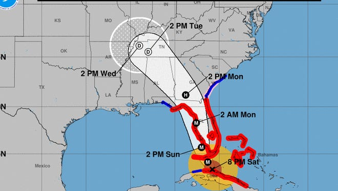 Irma's probable path as of an 8 p.m. update on Sept. 9