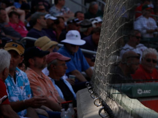 Netting keeping the crowd behind home plate safe at JetBlue Park in Fort Myers Monday.