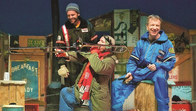 "Doug Mancheski, right, and Steve Koehler, left, reprise their well-known roles as Marvin and Lloyd when the hit Northern Sky Theater musical comedy ""Guys on Ice"" plays the Stackner Cabaret at Milwaukee Repertory Theater from Nov. 13 to Jan. 17. Also in the Rep production is Bo Johnson as Ernie the Moocher, shown here played by Lee Becker, front, in a Northern Sky production."