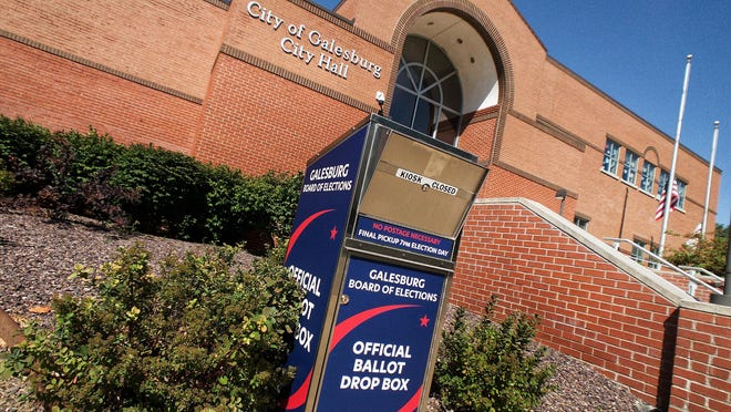 Ballot drop boxes have been installed in front of Galesburg City Hall.