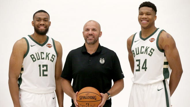 Milwaukee Bucks forward Jabari Parker (left) and forward Giannis Antetokounmpo -- flanking coach Jason Kidd in a preseason portrait  --comprise the most dangerous young duo in the NBA, according to a Bleacher Report ranking
