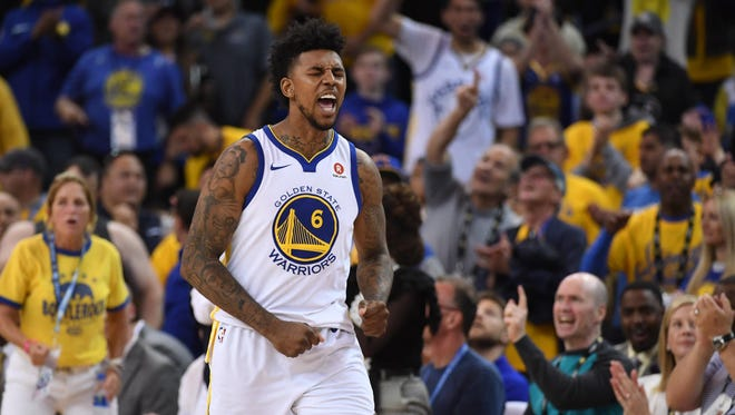 Golden State Warriors guard Nick Young (6) reacts against the Houston Rockets in the second half of Game 6.