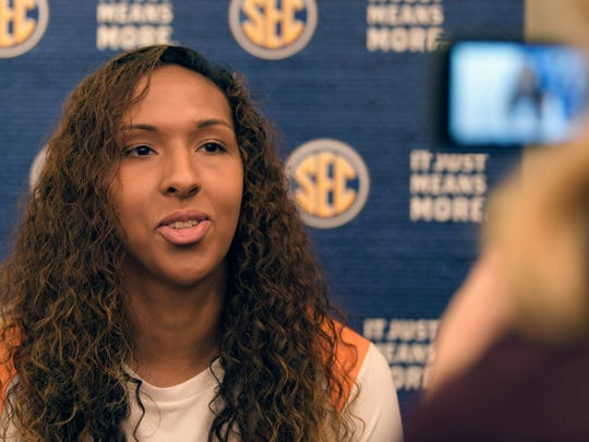 Tennessee player Mercedes Russell talks to the media
