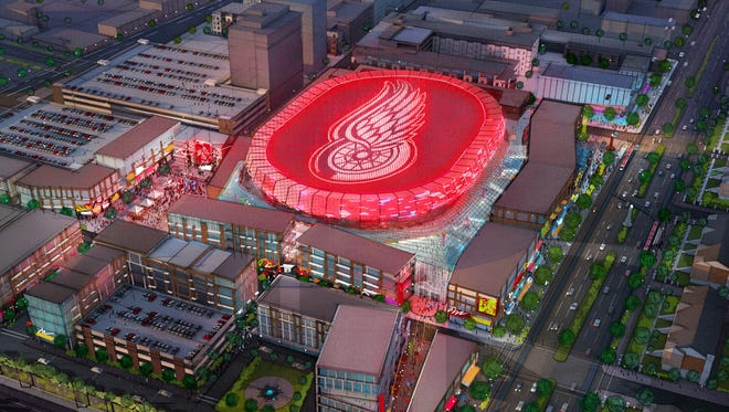 A  concept rendering of the new Red Wings arena. The ice will be well below street level in order to lessen the profile of the massive structure.