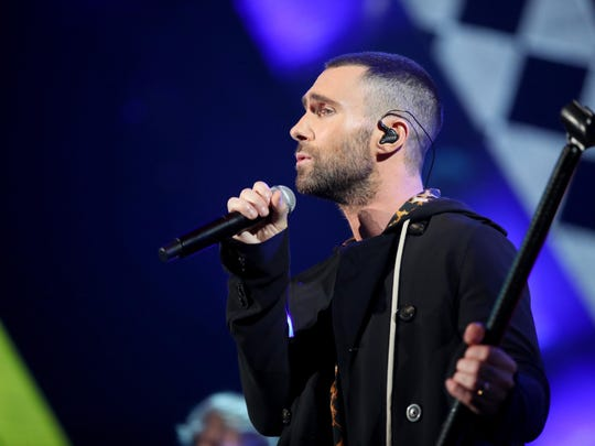 Singer Adam Levine and the rest of Maroon 5 will play Little Caesars Arena on Sunday.