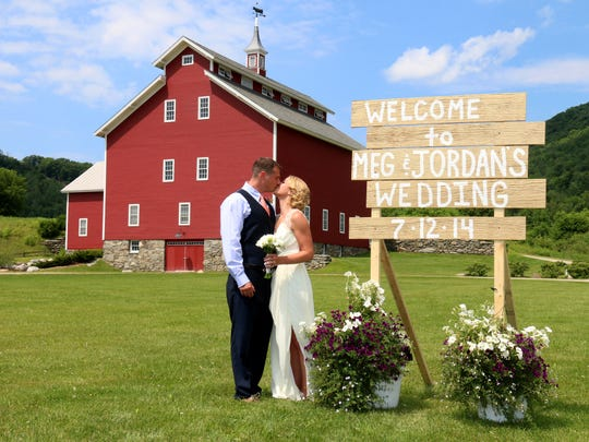 Meg Terrien, 29, married Jordan Hershman, 28, at the West Monitor Barn in Richmond in July. They patronized more than 12 businesses in a state where weddings are big business.