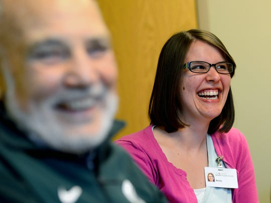Becky Weinberg, case manager at Hope Network, laughs