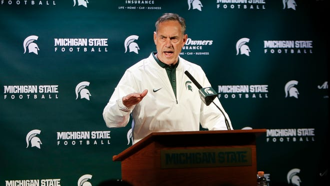 Spartan Football Coach Mark Dantonio talks about the 2017 football team Saturday, April 1, 2017, following the Green & White football game at Spartan Stadium in East Lansing.