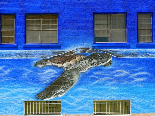 """""""A Breath of Fresh Air"""" is the new mural in downtown Corpus Christi by muralist Jeremy Flores. It is located on William Street on the Braswell Office Systems building."""