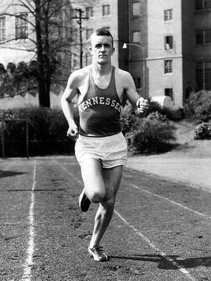 Ed Murphey won his third consecutive Southeastern Conference championship in the mile run, setting a new SEC record of 4:14 in May 1957 at Legion Field in Birmingham, AL.  His mile record (4:16) run at Neyland Stadium in 1956 stands unbroken for that venue.  He set the 1956 SEC Cross Country record in Atlanta (21:21).  Murphey also was the U.S. Marine Corps mile champion in 1958 and was inducted into the Brownsville, TN Sports Hall of Fame in 1994.  He was inducted into the Tennessee Sports Hall of Fame in 2005.  The Ed Murphey Award has been presented to the outstanding trackman each year at UT since 1965.    Photo Courtesy of Ed Murphey.