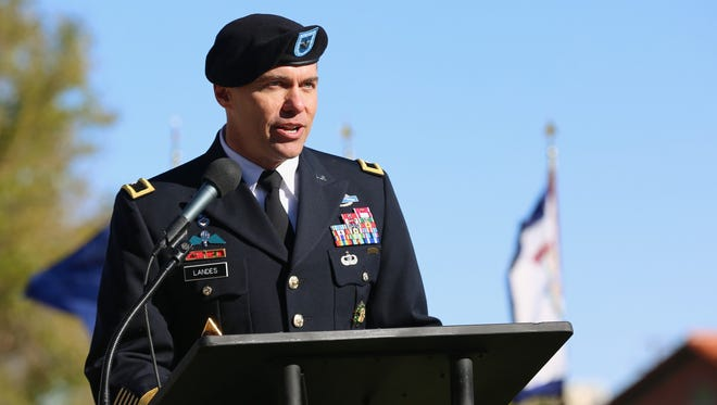 Brig. Gen. Mark H. Landes, deputy commanding general for support for Fort Bliss and the 1st Armored Division, speaks during his promotion ceremony on Nov. 18.