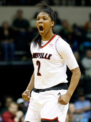 Mar 23, 2015; Tampa, FL, USA; Louisville Cardinals forward Myisha Hines-Allen (2) reacts to making a shot against the South Florida Bulls during the first half in the second round of the women's NCAA Tournamentat USF Sun Dome. Mandatory Credit: Aaron Doster-USA TODAY Sports